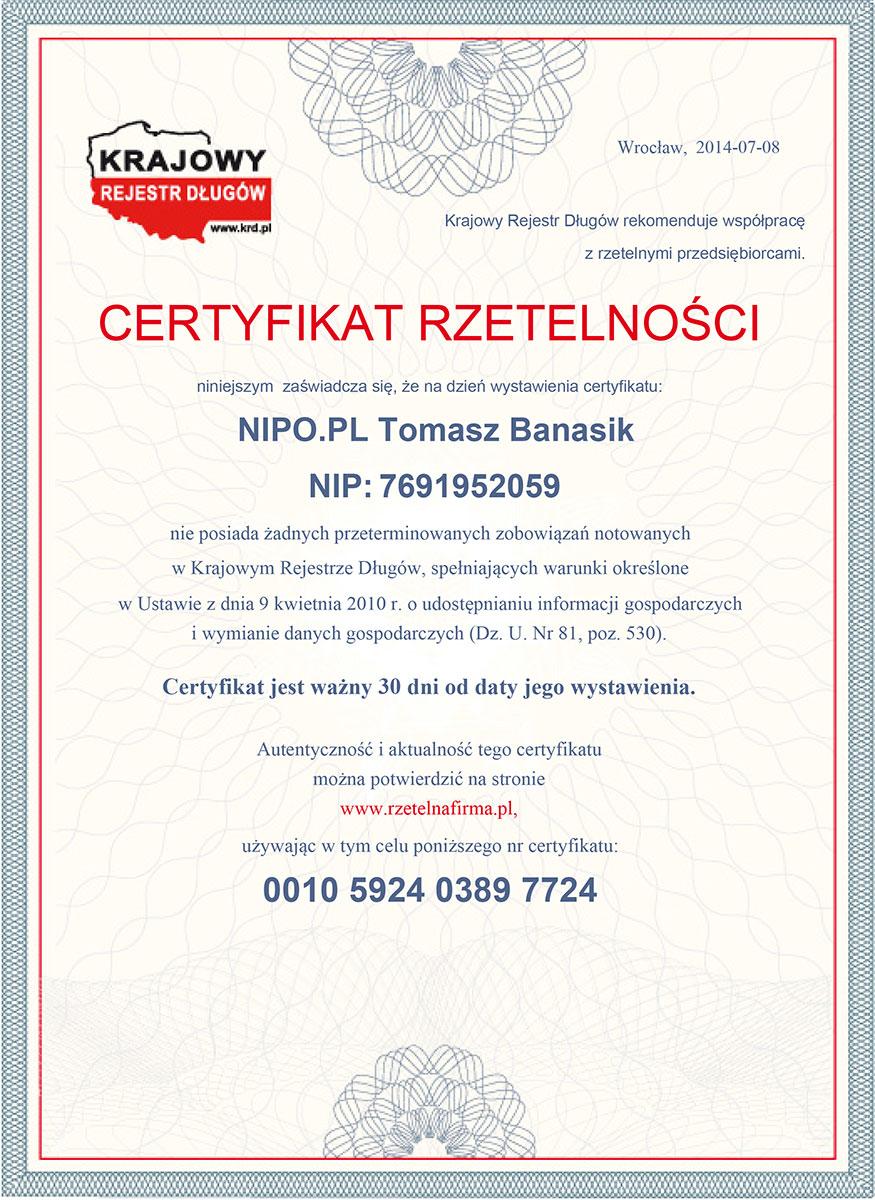 NIPO.PL - certyfikat rzetelności